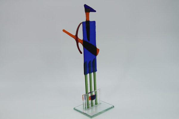 Glasfigur Schütze rot blau 3