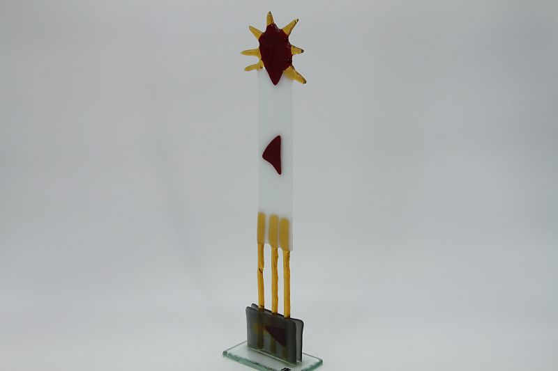 Glasfigur Sonnenkönig weiß rot 3