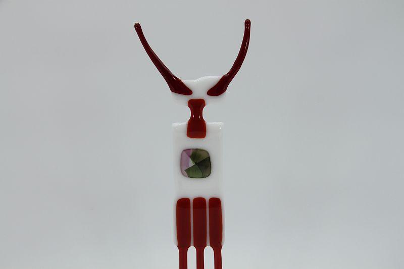 Glasfigur Stier weiß rot 2