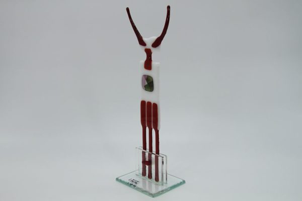 Glasfigur Stier weiß rot 3