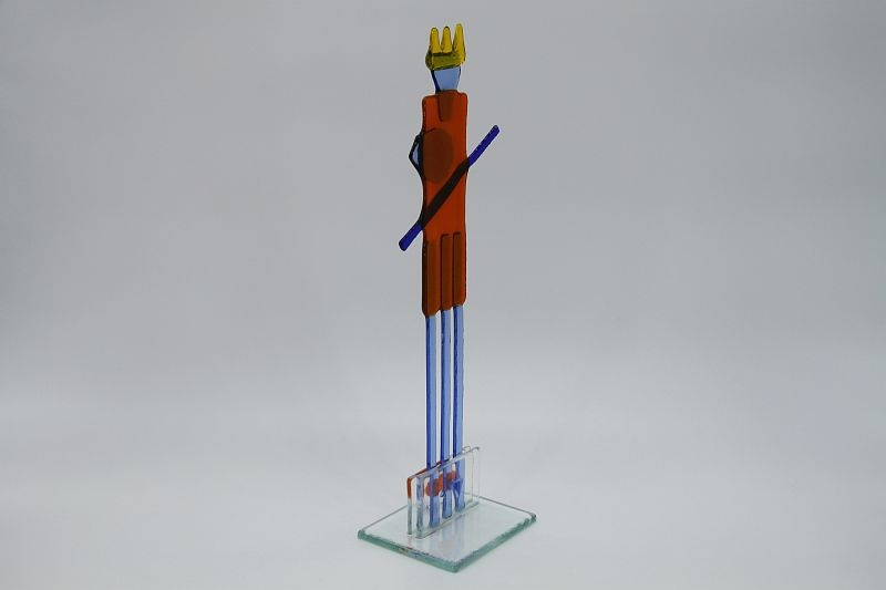 Glasfigur Wassermann rot blau 3