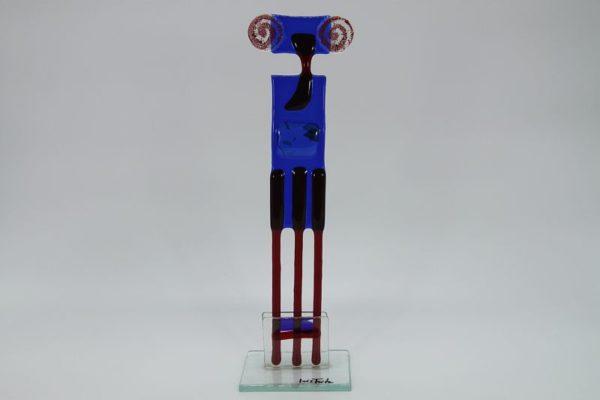 Glasfigur Widder rot blau 1
