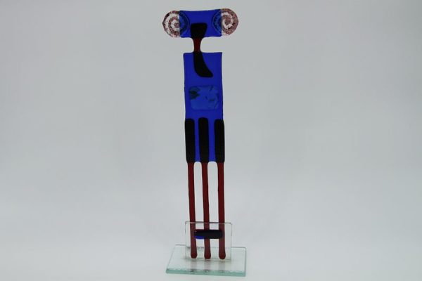 Glasfigur Widder rot blau 4