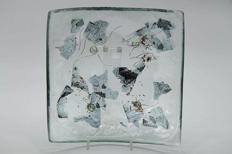 Glasschale eckig Metall 1