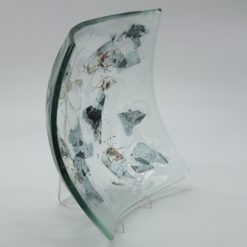 Glasschale eckig Metall 2