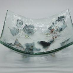 Glasschale eckig Metall 4