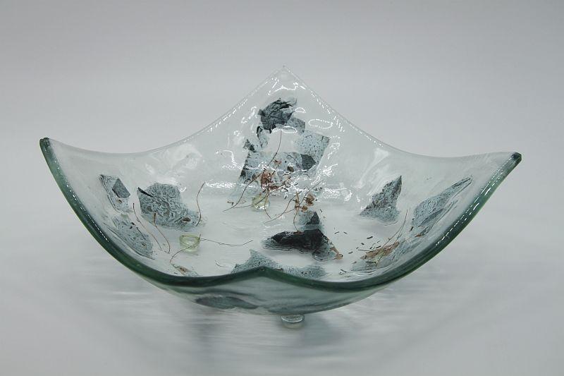 Glasschale eckig Metall 5