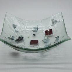 Glasschale eckig Metall rote Ecken 1