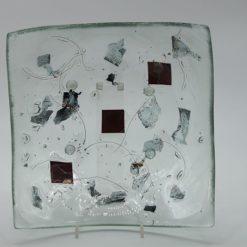 Glasschale eckig Metall rote Ecken 2