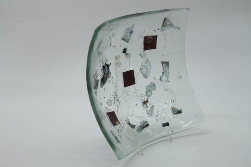 Glasschale eckig Metall rote Ecken 3
