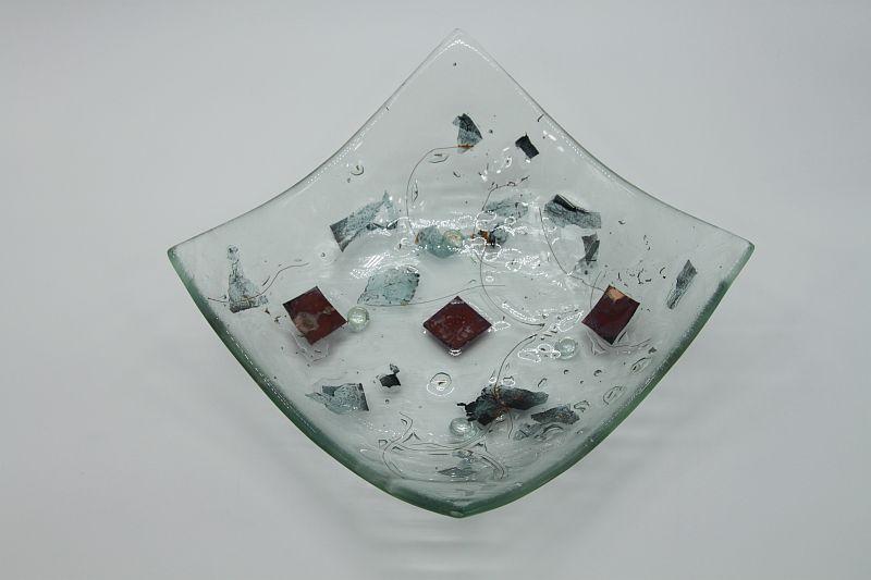 Glasschale eckig Metall rote Ecken 4
