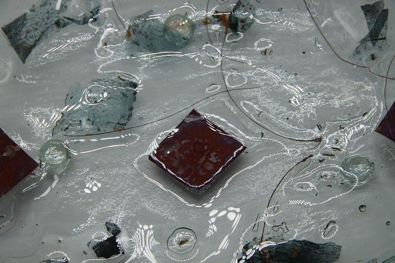 Glasschale eckig Metall rote Ecken 5