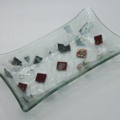 Glasschale gelbes Gras Metall rote Ecken klein 1
