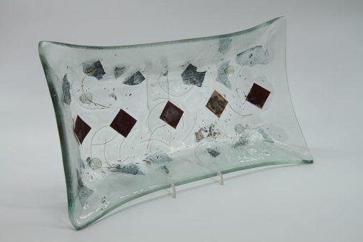 Glasschale gelbes Gras Metall rote Ecken klein 4