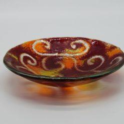 Glasschale klein Ranke rot-gelb 1
