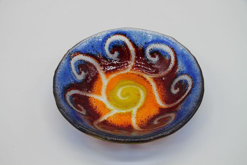 Glasschale klein Sonne gelb-blau 2