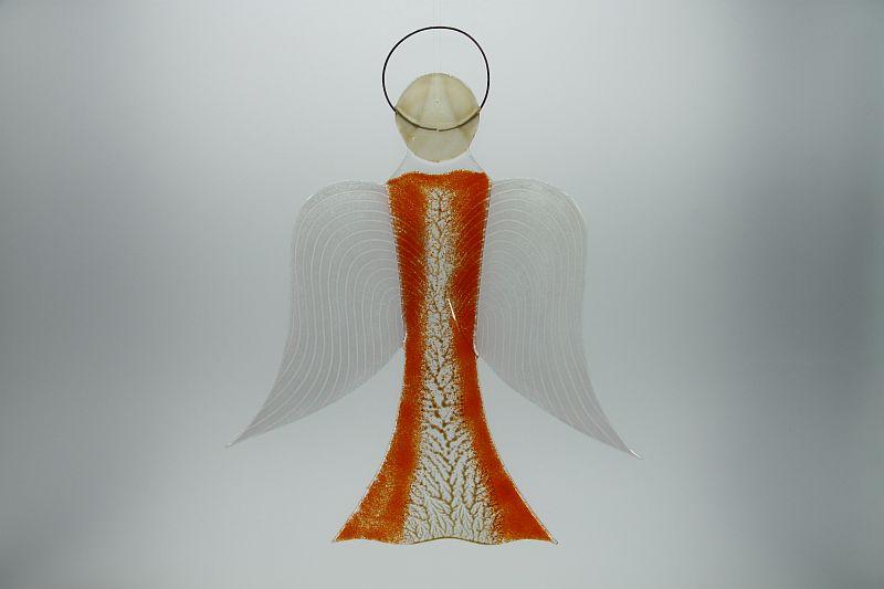 Glasengel Engel groß orange Baum 1