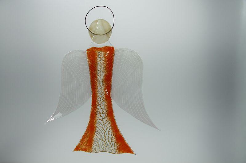 Glasengel Engel groß orange Baum 2