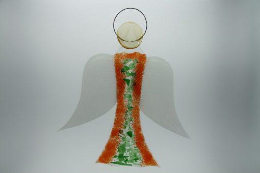 Glasengel Engel groß orange grün 1