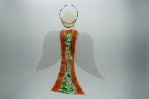 Glasengel Engel groß orange grün 2