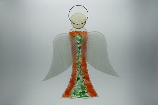 Glasengel Engel groß orange grün 3