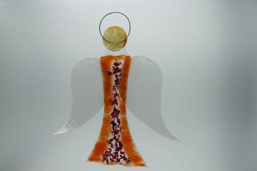 Glasengel Engel groß orange rose 2
