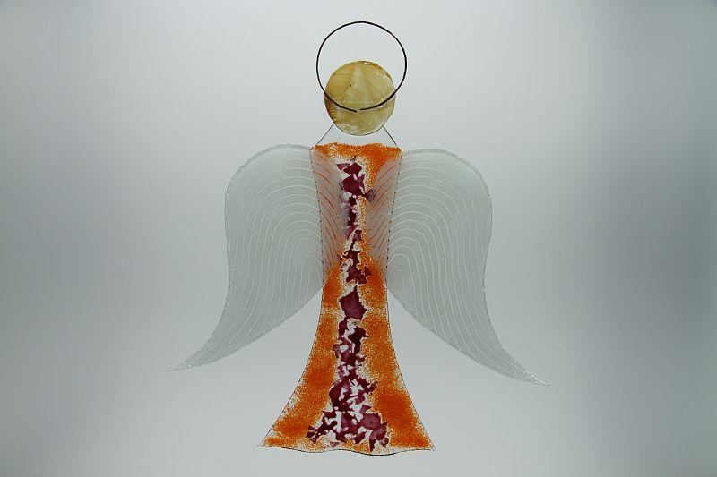 Glasengel Engel groß orange rose 3