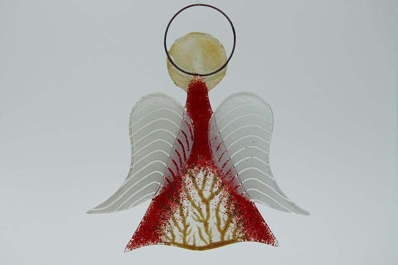 Glasengel Engel mittel hellrot Baum 1