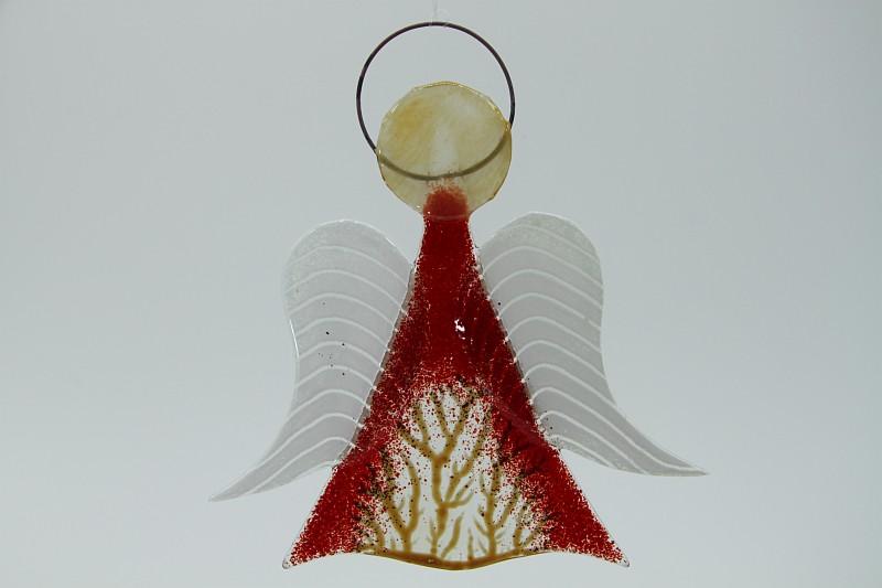 Glasengel Engel mittel hellrot Baum 2