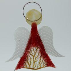 Glasengel Engel mittel hellrot Baum 3
