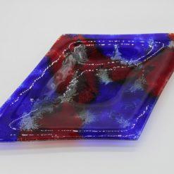 Glasschale Raute Metall rot-blau 1