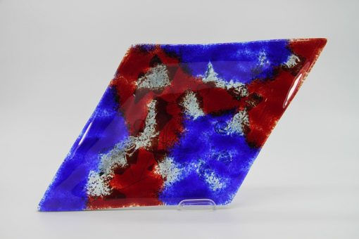 Glasschale Raute Metall rot-blau 2