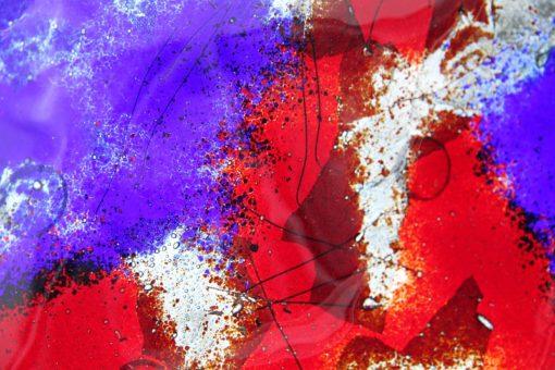 Glasschale Raute Metall rot-blau 3