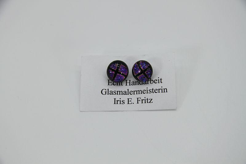 Glasschmuck Ohrstecker rosa Quadrat 1
