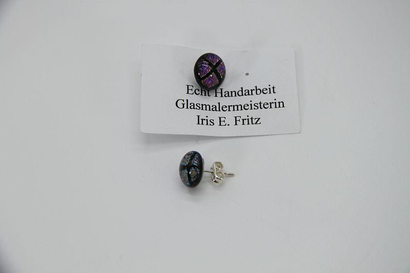 Glasschmuck Ohrstecker rosa Quadrat 2