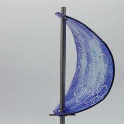 Gartenstele Glasstele Segel Blume dunkelblau hellblau 3