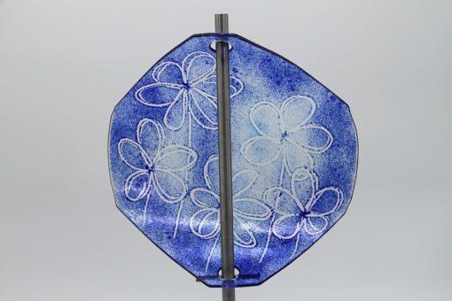 Gartenstele Glasstele Segel Blume dunkelblau hellblau 4
