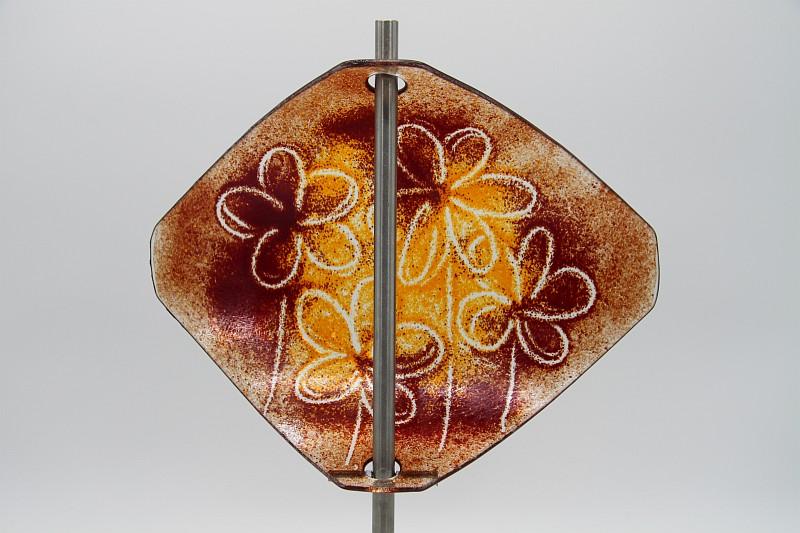 Gartenstele Glasstele Segel Blume dunkelrot-orange 4