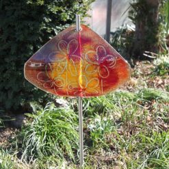 Gartenstele Glasstele Segel Blume dunkelrot-orange 5