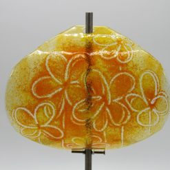 Gartenstele Glasstele Segel Blume gelb orange 1