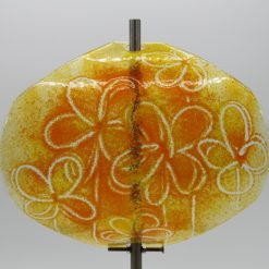 Gartenstele Glasstele Segel Blume gelb orange 2