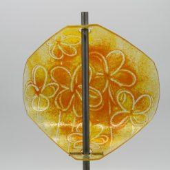 Gartenstele Glasstele Segel Blume gelb orange 4