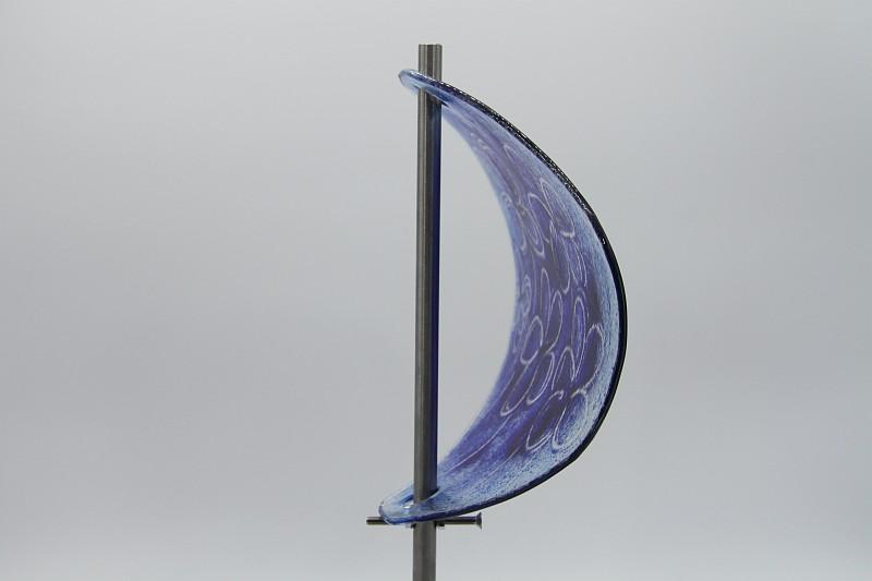 Gartenstele Glasstele Segel Blume hellblau dunkelblau 3