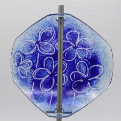 Gartenstele Glasstele Segel Blume hellblau dunkelblau 4