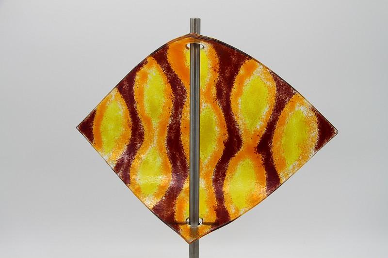 Gartenstele Glasstele Segel Ornament dunkelrot orange 4