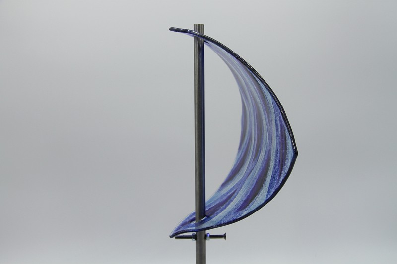 Gartenstele Glasstele Segel Ornament hellblau blau 3