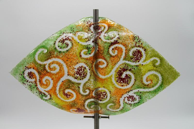 Gartenstele Glasstele Segel Ranke grün orange 1