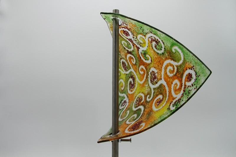 Gartenstele Glasstele Segel Ranke grün orange 5