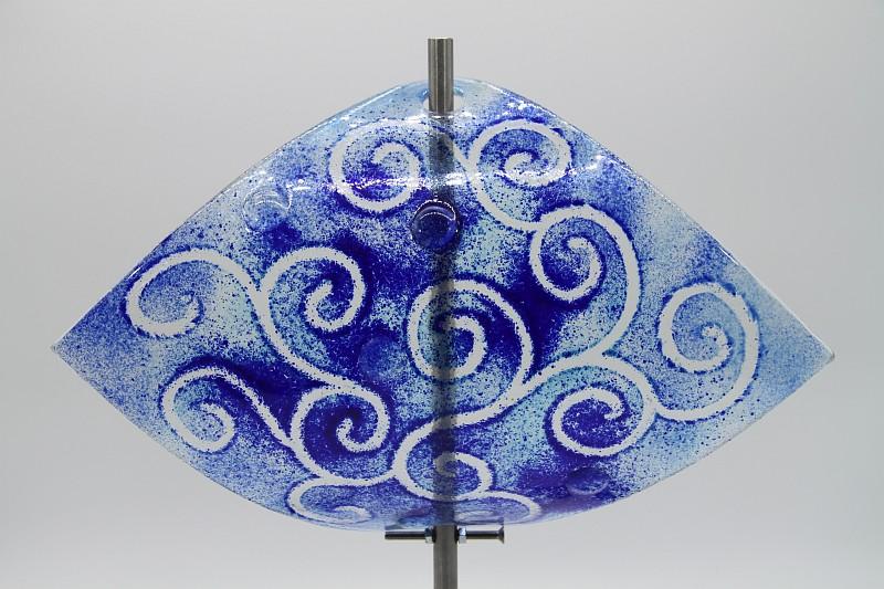 Gartenstele Glasstele Segel Ranke hellblau dunkelblau 1