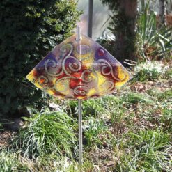 Gartenstele Glasstele Segel Ranke rot rose 5